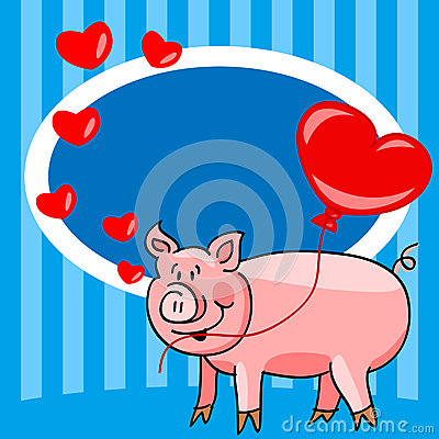 Cartoon pig love card