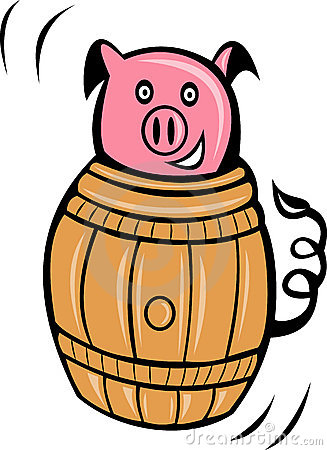 Cartoon pig pork barrel