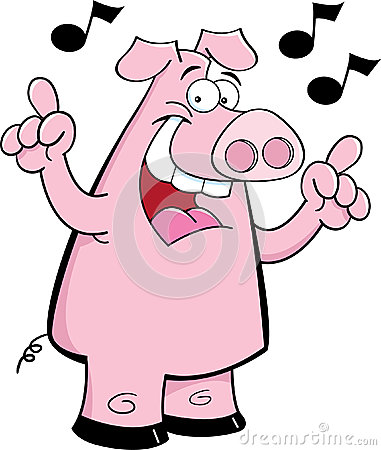 Cartoon pig singing