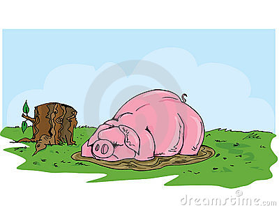 Cartoon pig wallowing in the mud