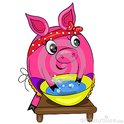 Cartoon pig washing. housewife in kitchen icon