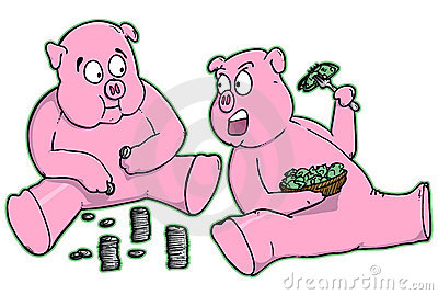 Cartoon Piggy Banks Eating Money