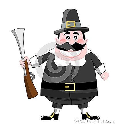 Cartoon Pilgrim With Rifle