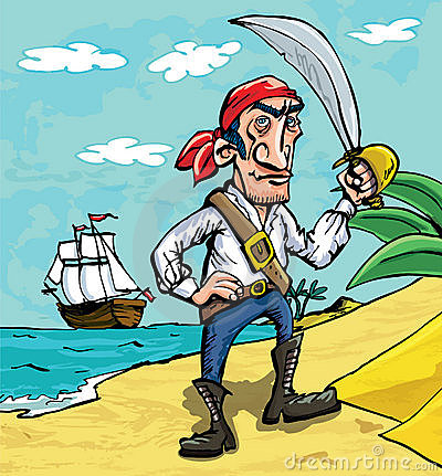 Cartoon pirate on a beach