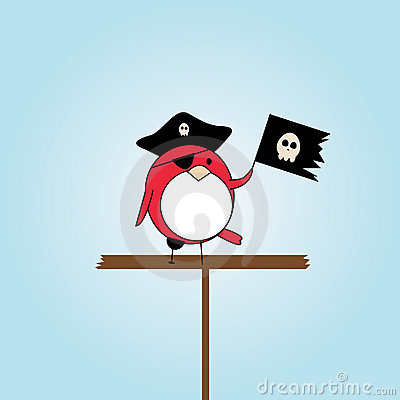 Cartoon pirate bird with hat and scull flag