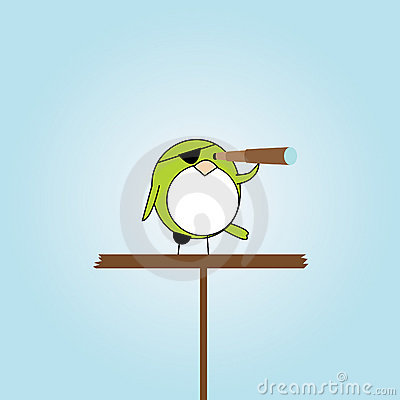 Cartoon pirate bird on platform