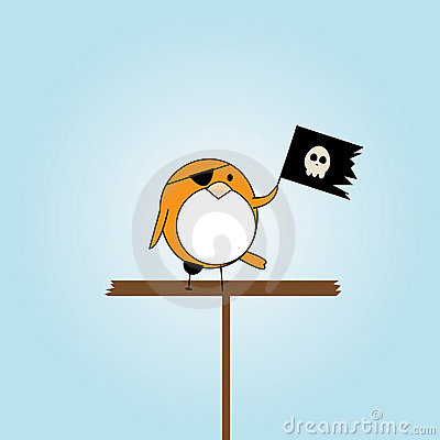 Cartoon pirate bird with scull flag