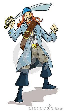 Cartoon of a pirate with a cutlass