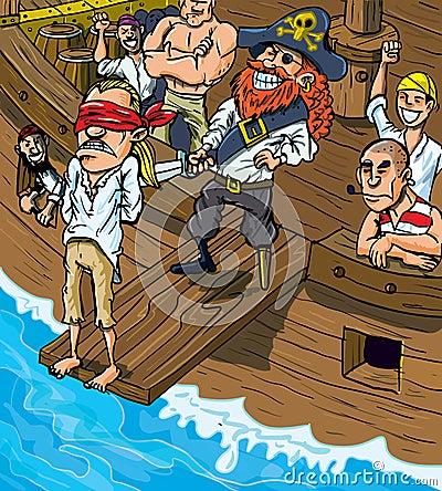 Cartoon pirate walking the plank