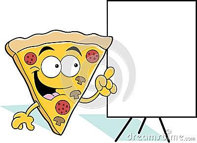 Cartoon pizza slice pointing