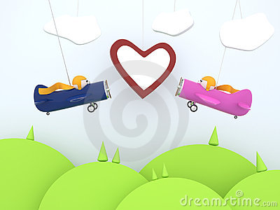 Cartoon planes with heart