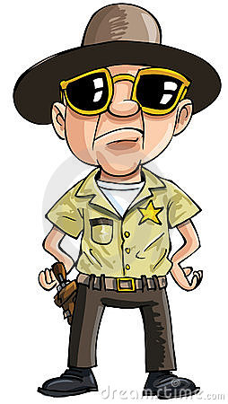 Cartoon policeman with dark glasses