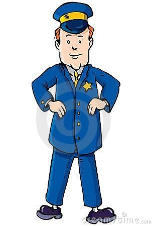 Cartoon policeman with hands on
