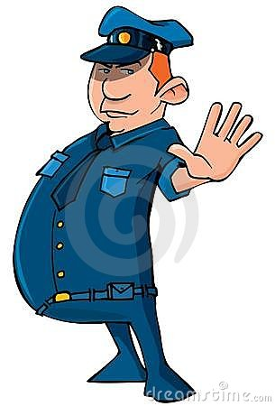 Cartoon policeman holding up his