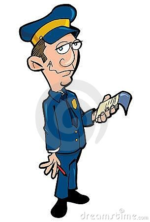 Cartoon policeman with a notebook