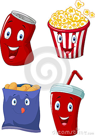 Cartoon Popcorn Soft Drink French Fries And Potato Chips