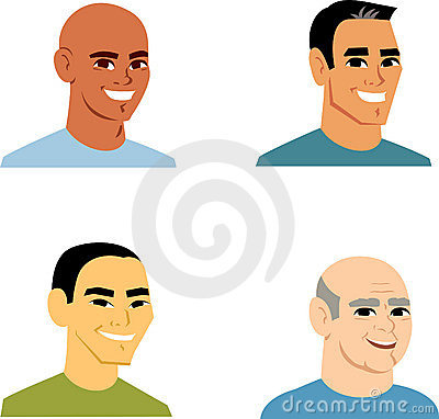 Cartoon Portrait Avatar Man Set