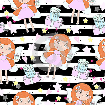 Cartoon positive seamless pattern with cute girls Vector Illustration