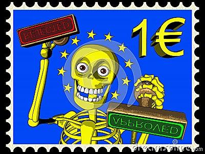 Cartoon of postage stamp 1 EURO, bureaucracy in EU