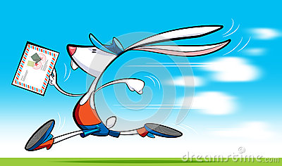 Fast postman rabbit delivering letter