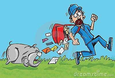 Cartoon postman running away from a dog