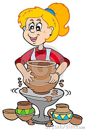 Free Cartoon Pottery Girl Royalty Free Stock Photography - 13858577