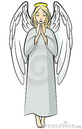 Cartoon Praying Angel Stock Vector Image 63473059