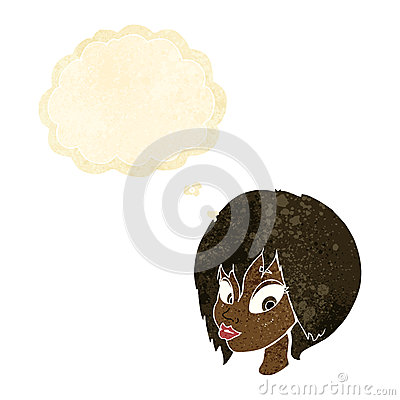 Cartoon pretty woman with thought bubble — Stock Vector ... |Pretty Thought Bubbles