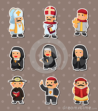 Cartoon priest stickers