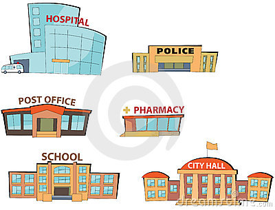 Cartoon public buildings