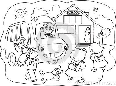 Cartoon pupils on schoolbus