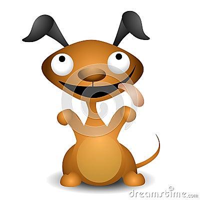 Cartoon Puppy Dog Begging
