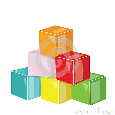 Free Cartoon Pyramid Of Colored Cubes. Toy Cubes For Children. Colorful Vector Illustration For Kids. Stock Photography - 104062902