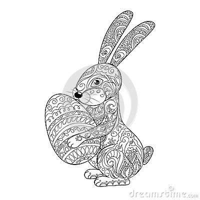 Free Cartoon Rabbit With Egg Stock Images - 67127094