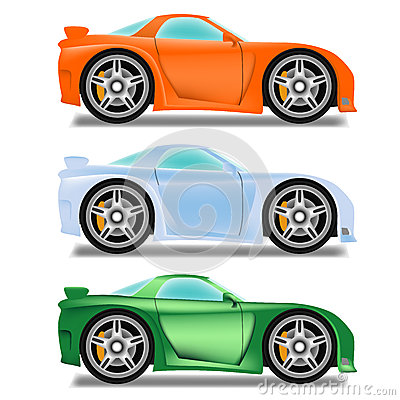 Cartoon race car with big wheels