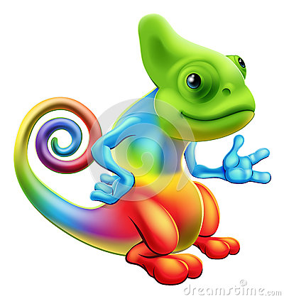 Cartoon rainbow chameleon