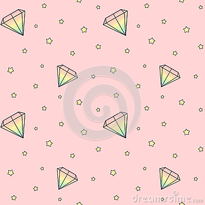Free Cartoon Rainbow Watercolor Diamonds On Pink Background With Yellow Stars Seamless Pattern Illustration Stock Images - 74168154