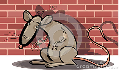 Cartoon rat against brick wall