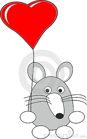 Cartoon rat (mouse) toy and red heart balloon