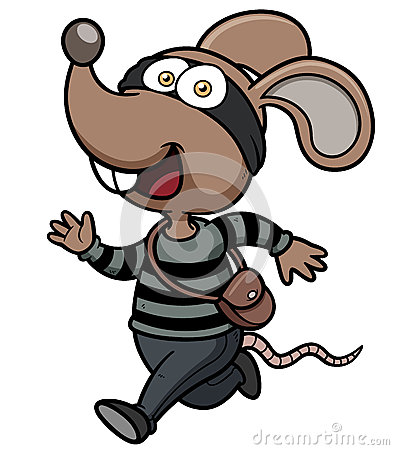 Cartoon Rat thief running