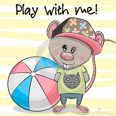 Free Cartoon Rat With A Ball On A Yellow Background Stock Photos - 141158583