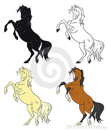 Cartoon rearing horses vector collection