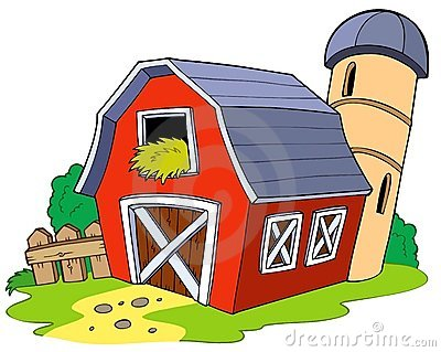 Cartoon red barn