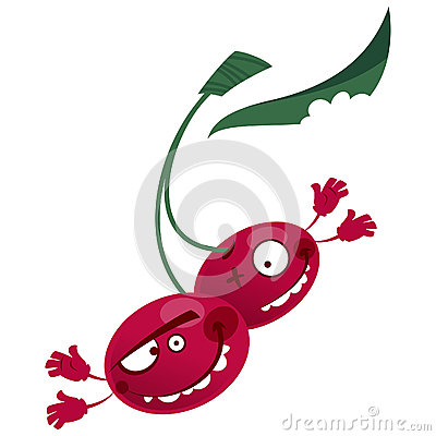 Cartoon red cherries fruit characters making a crazy face