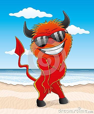 Cartoon red devil.