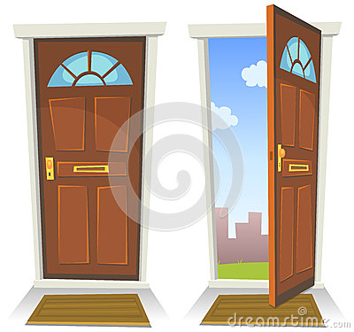 Free Cartoon Red Door, Open And Closed Royalty Free Stock Photos - 32006298