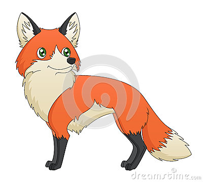 Cartoon Red Fox Standing
