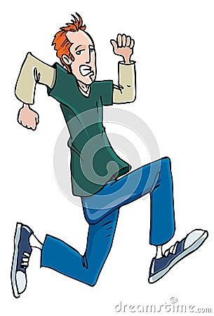 Cartoon red head teenager running in sneakers