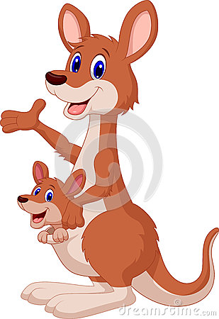 Free Cartoon Red Kangaroo Carrying A Cute Joey Stock Photography - 45743122