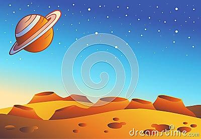 Cartoon Red Planet Landscape Stock Image Image 17539831